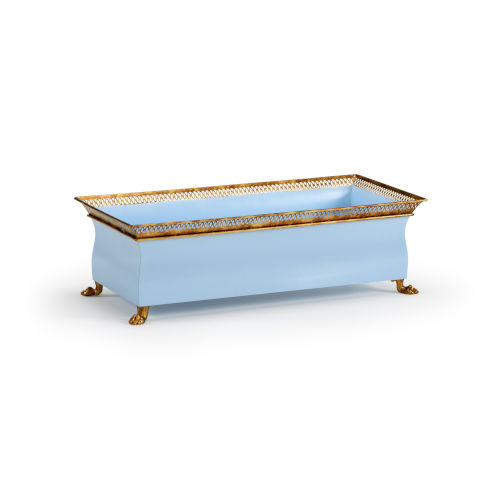 Baby Blue and Antique Gold Tole Planter