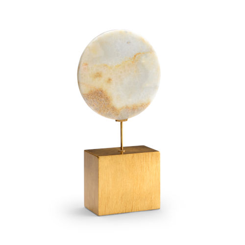 Natural White and Antique Gold Large Marble Disk