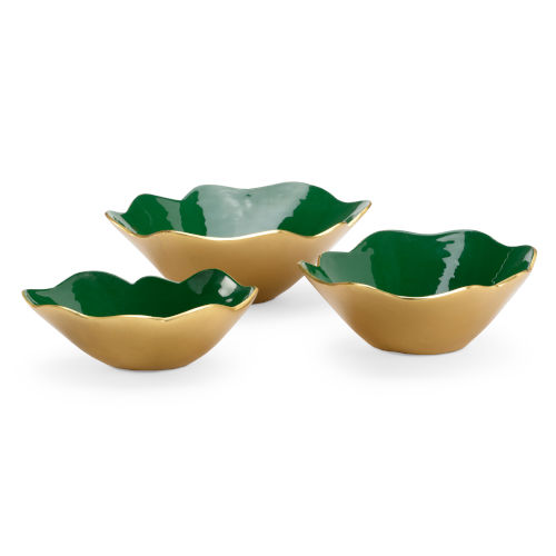 Green with Metallic Gold Enameled Decorative Bowls