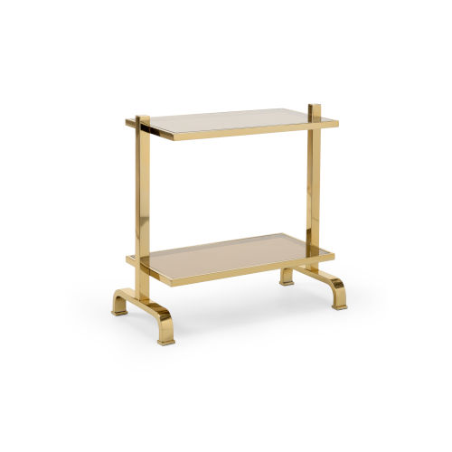 Polished Brass Smoked Glass Side Table