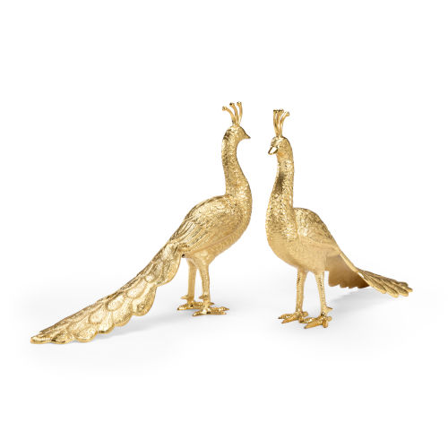 Polished Brass Peacocks Figurine