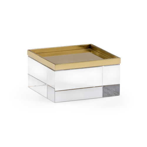 White and Brass Square Crystal Stand