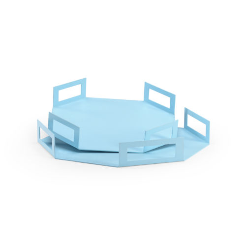 Blue Octagon Trays