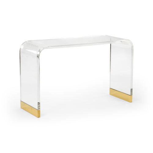 Antique Brass Acrylic Waterfall Console Table