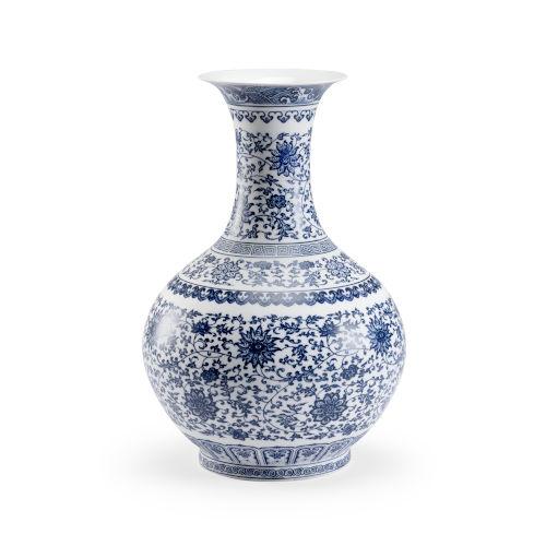 Taisho Blue and White 12-Inch Vase