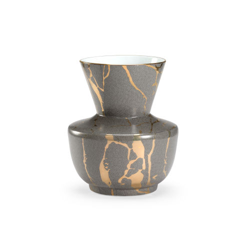Skin Gray and Metallic Gold 11-Inch Vase