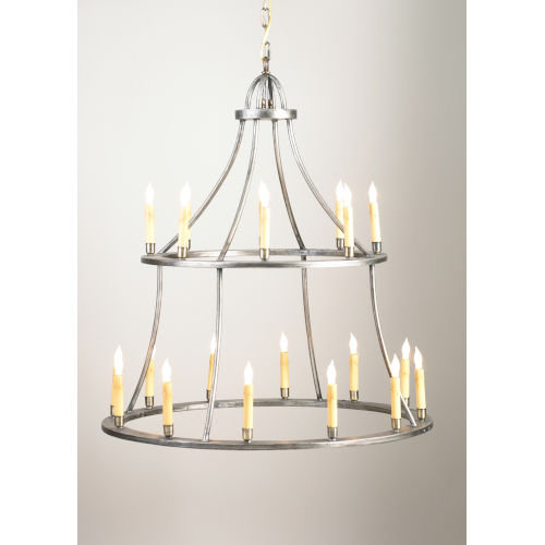 Colonial Antique Silver 20-Light Colonial Chandelier