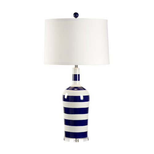 Blue and White One-Light Beach Stripe Table Lamp