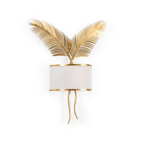 Gold Two-Light Palm Wall Sconce