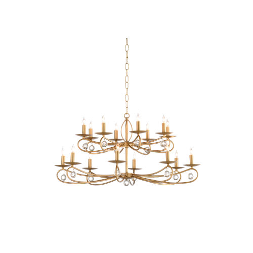 Gold 16-Light Tiered Chandelier