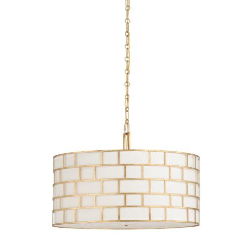 Masonry Antique Gold and Off White Three-Light Pendant