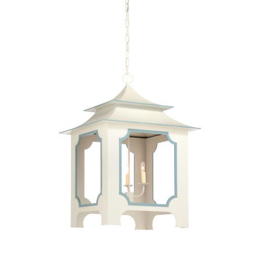 Gray and Blue Three-Light Tole Pagoda Pendant