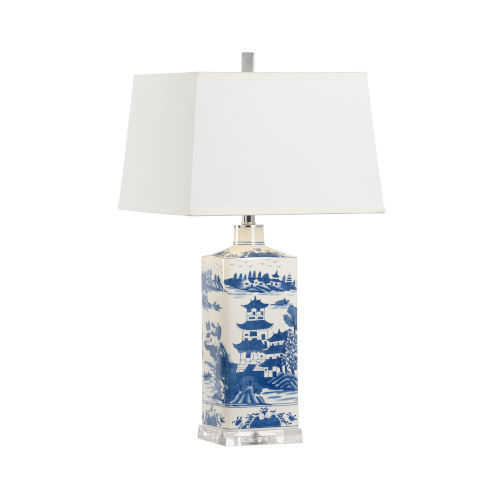 Blue and White One-Light Square Lamp