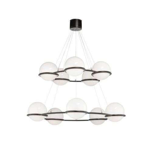 Cobbs Court Black and White Double Tiered Chandelier