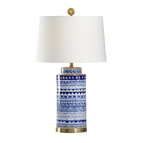 Wildwood Lamps Coastal Blue and White One-Light Table Lamp