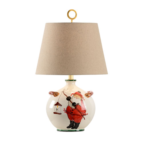 Vietri Hand Painted Santa Claus One-Light Table Lamp