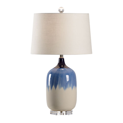 Blue and White One-Light Table Lamp