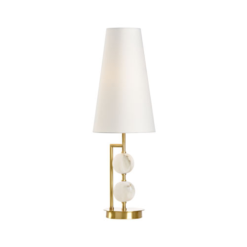 Natural White and Antique Brass One-Light Table Lamp