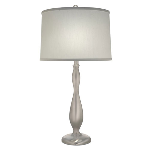Satin Nickel 28-Inch One-Light Table Lamp with Satin Shade