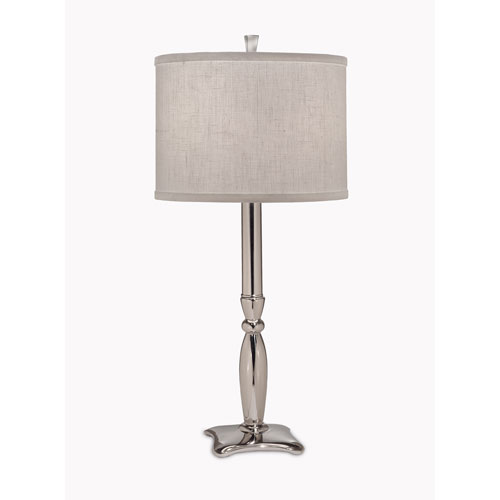 Polished Nickel One-Light Buffet Lamp with Pearl Supreme Satin Shade