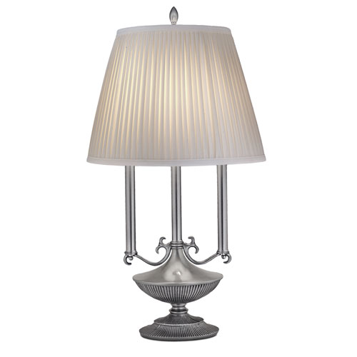 Pewter One-Light Desk Lamp with Off White Camelot Side Pleat Shade