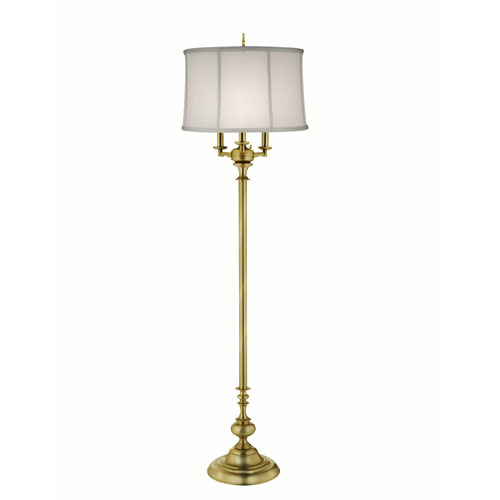 Satin Brass Four-Light Floor Lamp with Off White Camelot Shade