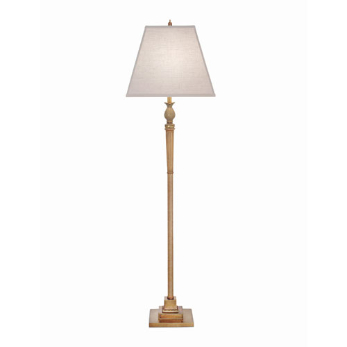 Polished Honey Brass One-Light Floor Lamp with Cream Aberdeen Hardback Shade