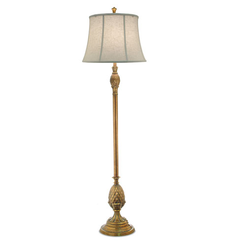 Polished Honey Brass One-Light Floor Lamp with Cream Aberdeen Softback Shade