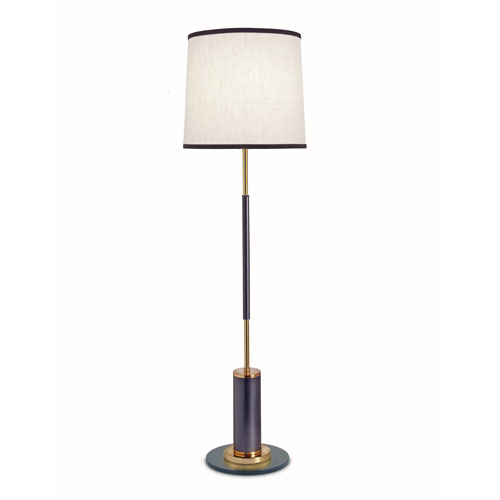 Matte Black and Polished Gold One-Light Floor Lamp with White Aberdeen and Black Trim Shade