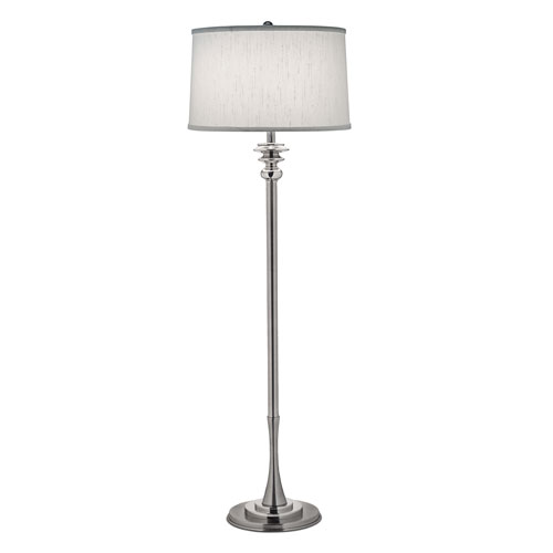 Antique and Polished Nickel One-Light Floor Lamp with Global White Shade