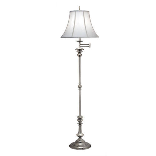 Antique Nickel One-Light Floor Lamp with Off White Silk Shantung Shade