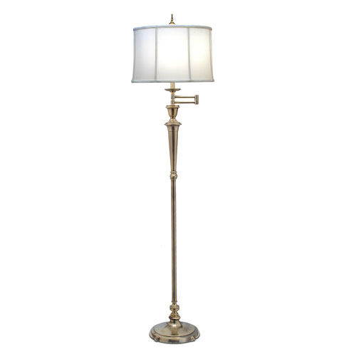 Burnished Brass One-Light Floor Lamp with Off White Camelot Shade