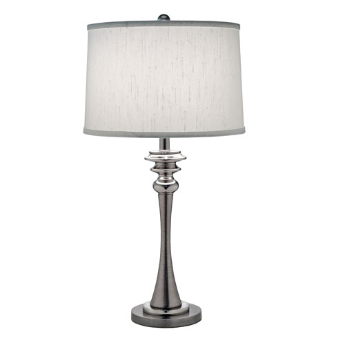 Antique and Polished Nickel One-Light Table Lamp with Global White Shade