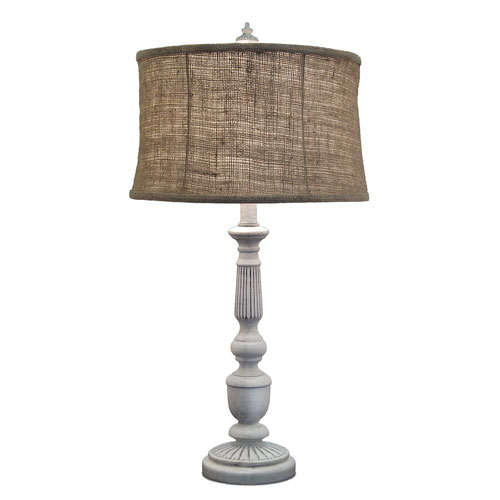 Distressed White One-Light Table Lamp with Natural Burlap Shade