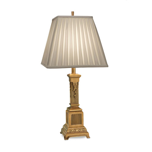 French Gold One-Light Table Lamp with Oyster Silksheen Box Pleat Shade