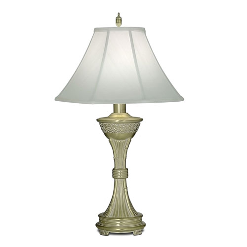 Satin Brass and White Antique One-Light Table Lamp with Off White Silk Shantung Shade
