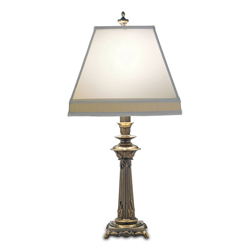 Roman Bronze One-Light Table Lamp with Off White Camelot Tan Camelot Shade