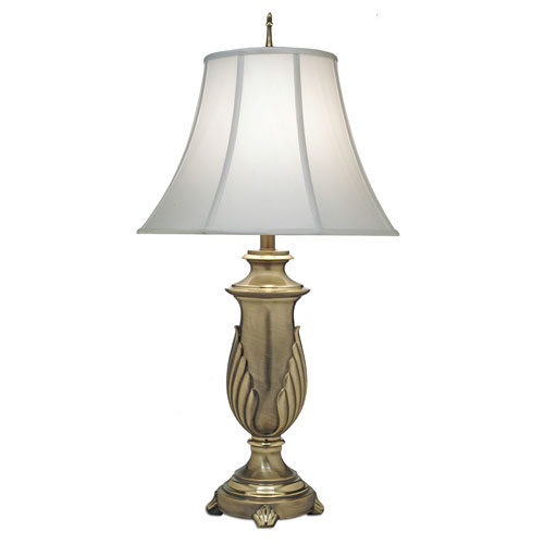 Florentine One-Light Table Lamp with Off White Silk Shantung Shade
