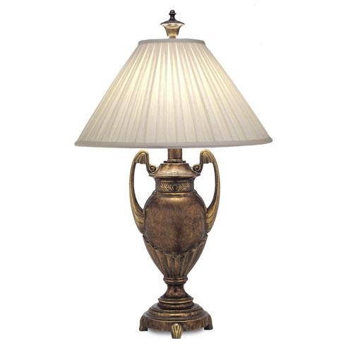 Amber Tortoise Shell One-Light Table Lamp with Honey Beige Windchime Box Pleat Shade