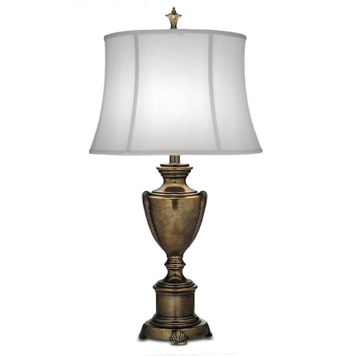 Stiffel Smoked Umber One-Light Table Lamp with Off White Silk Shantung Shade