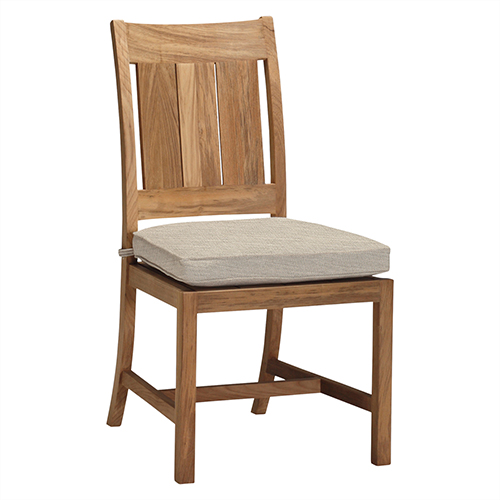 Croquet Teak Ivory Side Chair with Linen Dove Cushion-Set of 2