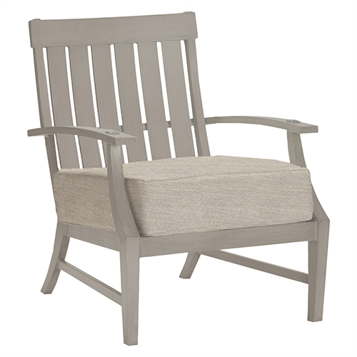 Summer Classics Croquet Aluminum Oyster Lounge Chair with Linen Dove Cushion