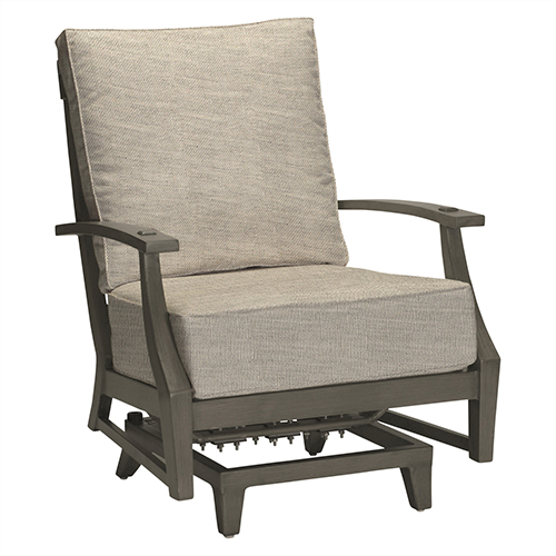 Summer Classics Croquet Aluminum Gray Spring Lounge with Linen Dove Cushion