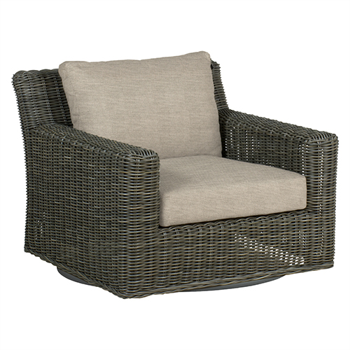 Summer Classics Rustic Gray Speaker Swivel Lounge with Linen Dove Cushion