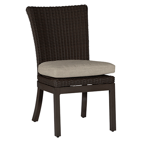 Summer Classics Rustic Black Walnut Side Chair with Linen Dove Cushion-Set of 2