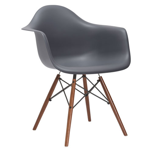 Nicollet Gray Arm Chair with Walnut Legs