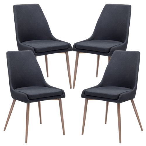 251 First Loring Black Dining Chair, Set of Four