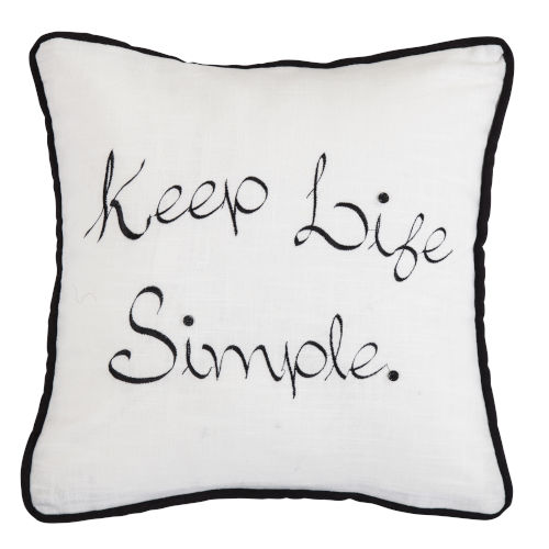 Blackberry White and Black 18 In. X 18 In. Keep Life Simple Embroidery Throw Pillow