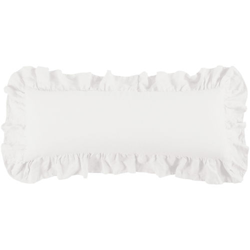 Luna White 14 In. X 36 In. Ruffled Throw Pillow