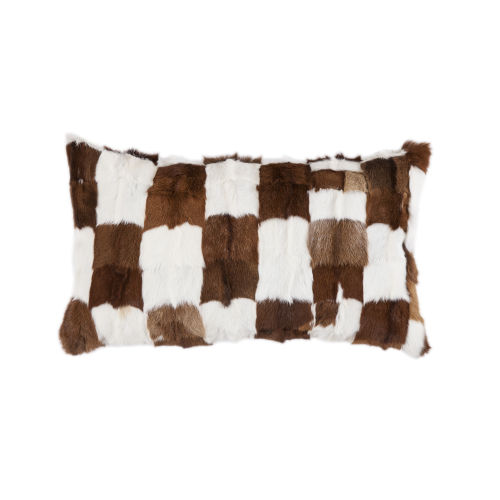 White and Brown 16 In. X 26 In. Patched Goat Hide Throw Pillow